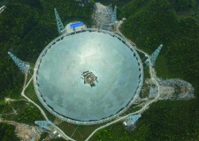 """(160410) -- PINGTANG, April 10, 2016 (Xinhua) -- Photo taken on April 10, 2016 shows the single-aperture spherical telescope """"FAST"""" in Pingtang County, southwest China's Guizhou Province.  A total of 4,185 reflector panels, an equilateral triangle with a side length of 11 meters each, have been installed on the frame, indicating 94.04 percent of the installation work has been completed. The 500-meter aperture spherical telescope (FAST), to be completed within 2016, is expected to be the world's largest, overtaking Puerto Rico's Arecibo Observatory, which is 300 meters in diameter. (Xinhua/Ou Dongqu) (lfj) (Newscom TagID: xnaphotos628171.jpg) [Photo via Newscom]"""