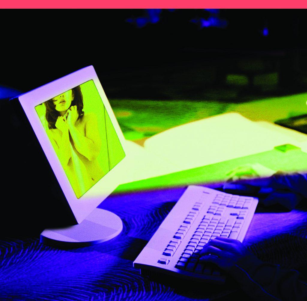 Teenage boy at computer looking at nude woman