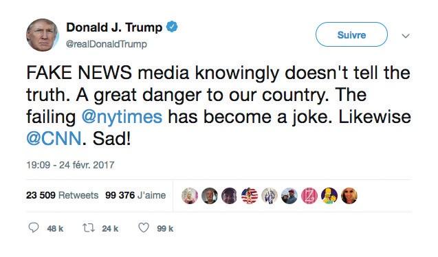 Capture d'écran d'un tweet de Donald Trump au sujet des médias et des fake news.